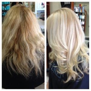 Olaplex behandeling blond voor en na
