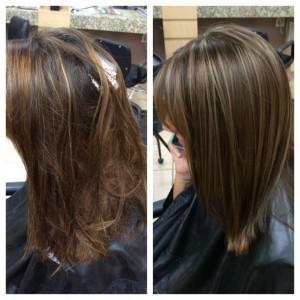 Olaplex behandeling bruin haar voor en na