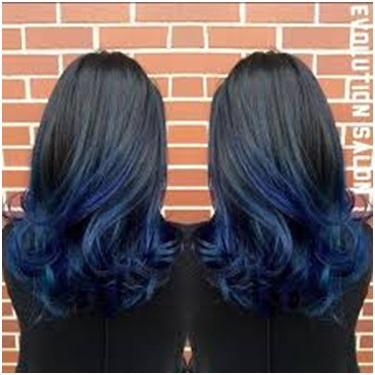 Zwart blauw kapsel Bobline