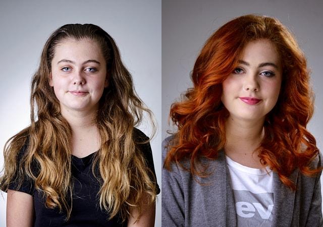 bobline hair and beauty metamorfose vrouw roodharig